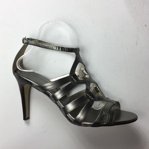 Banana Republic Silver Leather Strappy Sandals 10